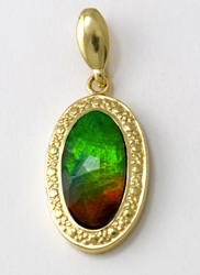 14K yellow gold Ammolite Pendent valued at just under $900.00