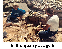 5-year-old Anthony with his father splitting rock at the quarry